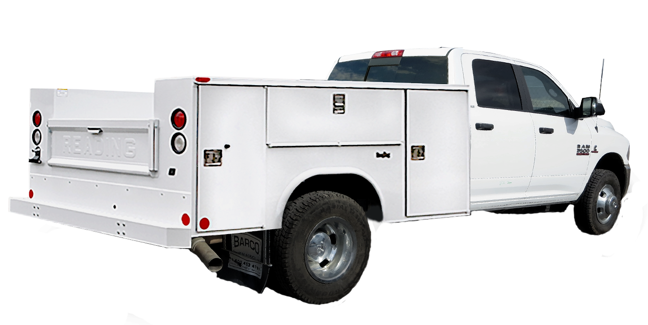 1 ton Ram service utility body truck, transparent background